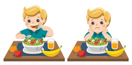 Ragazzino felice di mangiare insalate e infelice di mangiare insalate. Concetto di salute e bambini in crescita.
