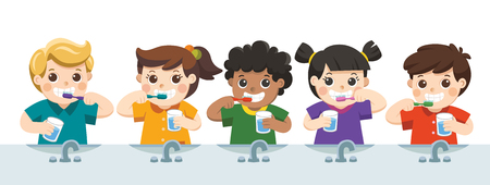 Happy Kids Holding Toothbrush and Glass of Water Brushing their Teeth. Illustration
