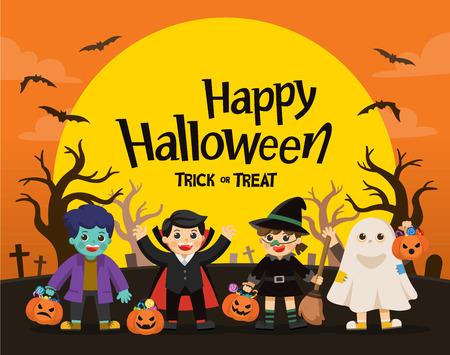 Felice Halloween. Bambini vestiti con costumi di Halloween per fare dolcetto o scherzetto. Modello per brochure pubblicitaria. Vettoriali