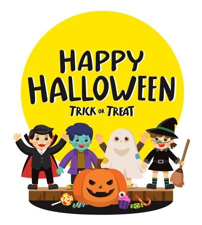 Happy Halloween and Trick or Treat Party. Children in colorful costumes and pumpkins with candy.Template for advertising brochure. Illustration