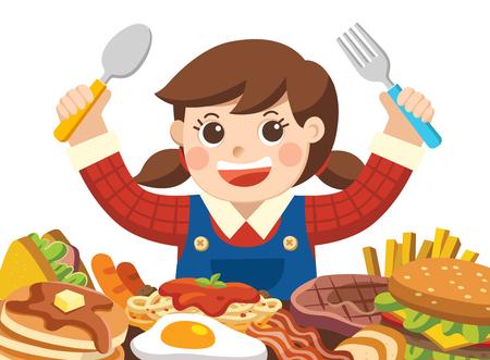 Una niña con cuchara y tenedor va a comer alimentos.