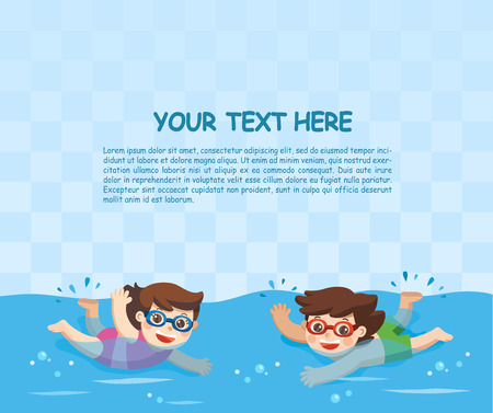 Cheerful and active little Boy and Girl swimming in the swimming pool. Template for advertising brochure. Stock Illustratie