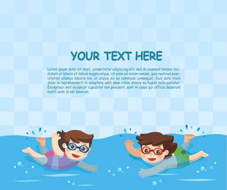 Fröhliche und aktive kleine Jungen und Mädchen schwimmen im Schwimmbad. Vorlage für Werbebroschüre.