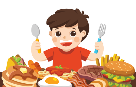 A Boy with spoon and fork going to eat Foods. Standard-Bild - 110154170