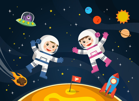 Space scenes. Astronaut  on the planet with a alien spaceship. Ilustração
