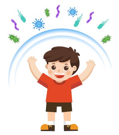 Gezonde jongen weerspiegelt de aanval van bacteriën. Gezonde levensstijl. Vector Illustratie