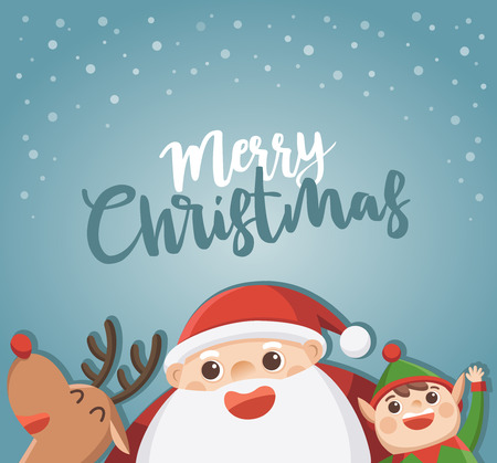 Merry Christmas And Happy New Year Greeting Card. Santa with elf and reindeer.