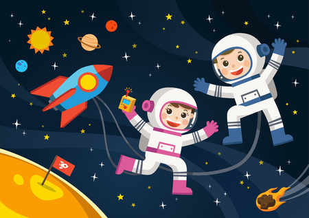 Space scenes. Astronaut  on the planet with a alien spaceship. Иллюстрация