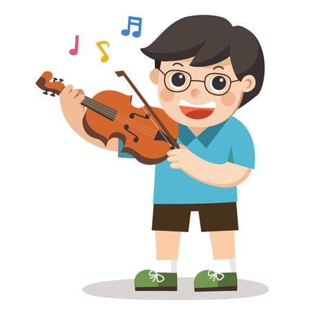 A boy playing violin on white background. Child musical performance.