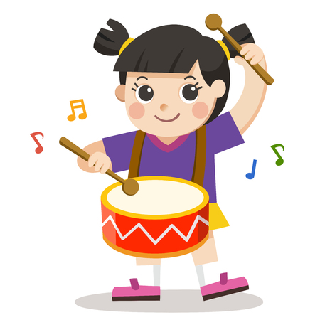 A Girl playing drum on white background. Child musical performance. Illustration