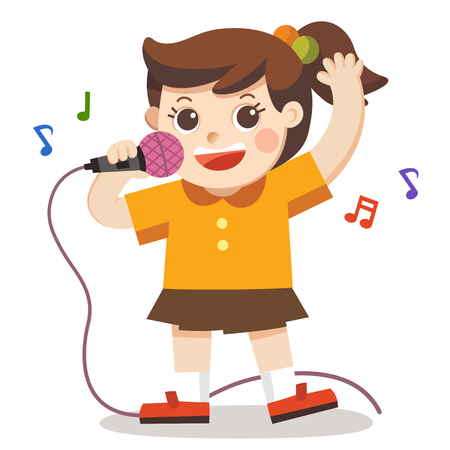 A Girl singing with microphone on white background. Child musical performance.