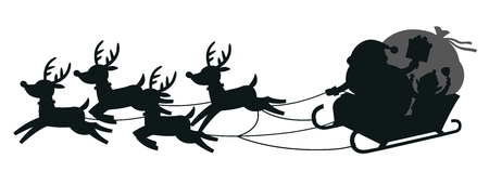 Merry Christmas And Happy New Year Greeting Card. Santa riding in sledge with reindeers. Silhouettes isolated on white background.