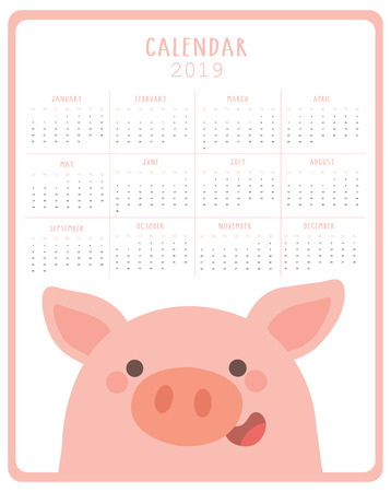 Calendar 2019 with cute pig. Symbol of the year in the Chinese 2019. Week starts on monday. Vector illustration 向量圖像