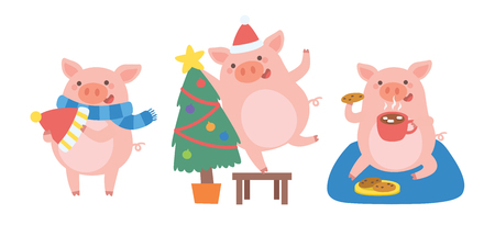 Celebrating Christmas with Cute pig in different situations. Symbol of the year in the Chinese. Vector illustration