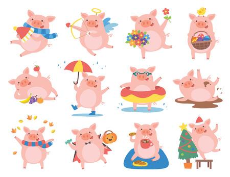 Cerdo lindo en diferentes situaciones. Símbolo del año en chino 2019.