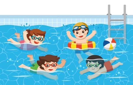 Niños alegres y activos nadando en la piscina. Equipo de deporte. Ilustración de vector. Ilustración de vector