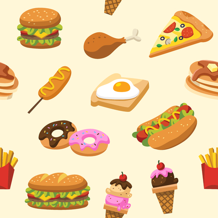 Pattern of traditional food. Let's eat something delicious tasty food. pattern for menu logos and labels.
