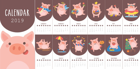 Calendar 2019 with cute pig in different situations. Symbol of the year in the Chinese 2019. Week starts on monday. Vector illustration