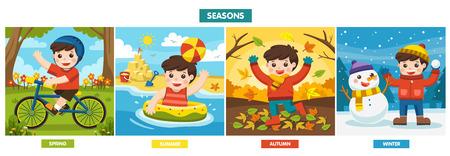 Illustration des quatre saisons et de la météo. Un garçon mignon jouant à différentes saisons.