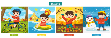 Illustration Of Four Seasons and weather. A Cute boy playing in different seasons. 矢量图像