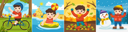 Illustration Of Four Seasons and weather. A Cute boy playing in different seasons. 向量圖像