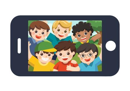 Happy best friends selfie photo on smartphone display. Vector  illustration.