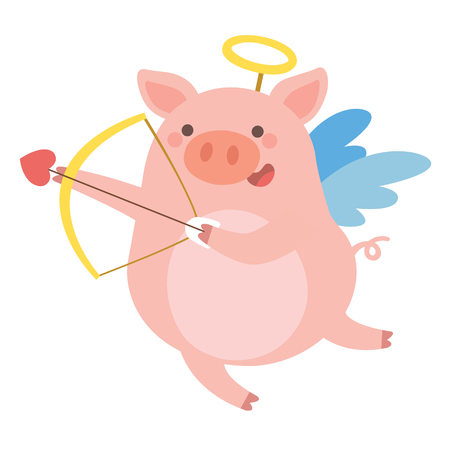 Valentines Day illustration of Cute Pig cupid shoots a bow on White background.