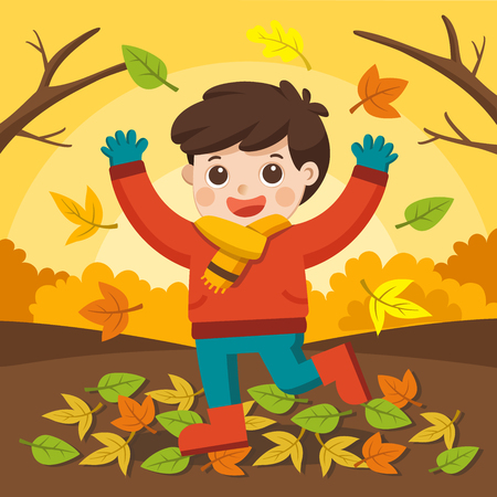 Happy boy laughing and playing in the autumn on the nature walk outdoors. Vector Illustratie