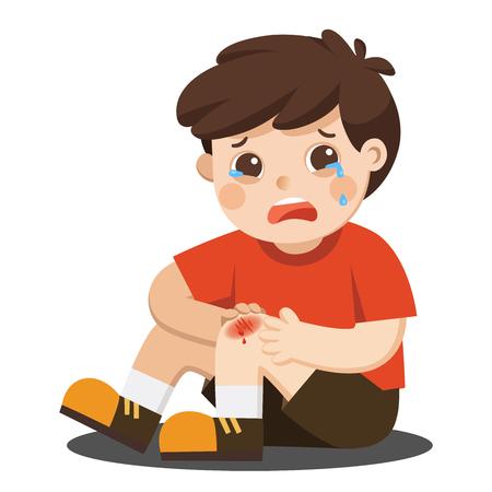 Un garçon tenant une égratignure douloureuse du genou de la jambe blessée avec des gouttes de sang. Genou cassé d'enfant. Douleur de blessure au genou qui saigne. Enfant qui pleure avec un genou écorché. illustration vectorielle.