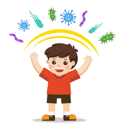 Gesunder Junge reflektieren Bakterienbefall. Gesunder Lebensstil. Vektorgrafik