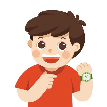 Glücklicher Junge, der Armbanduhr zeigt. Zeigt eine Uhrzeit an. Kleiner Junge, der auf seine Armbanduhraufstellung zeigt. Vektorgrafik