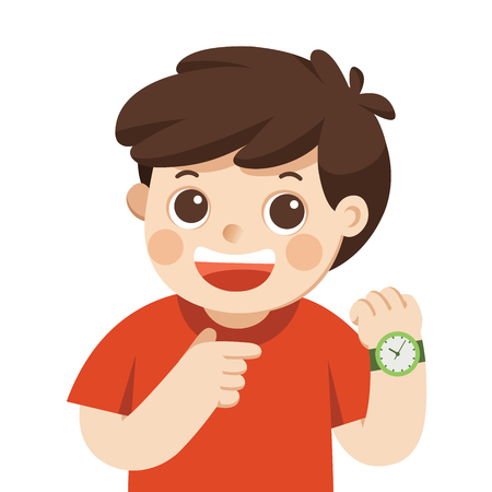 Happy boy showing wrist watch. Shows a time. Little boy pointing at his wrist watch posing.