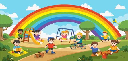 Happy excited kids having fun together on playground. Children play outside with rainbow background. Vector illustration.