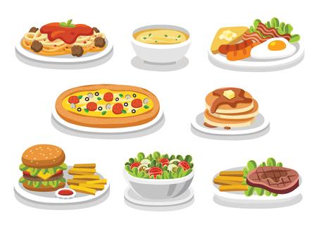 Conjunto de comida tradicional. Comamos algo delicioso, comida sabrosa. Iconos para logotipos y etiquetas de menú. Logos