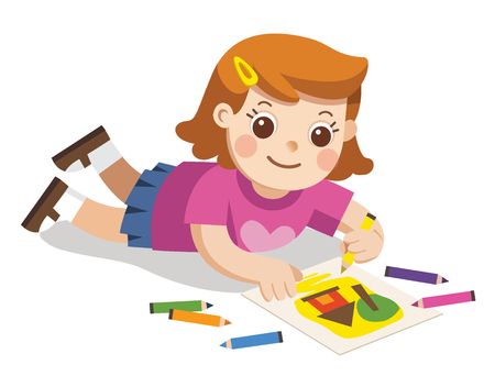 Back to school, Happy Girl draw pictures pencils and paints on floor.Isolated vector. 向量圖像