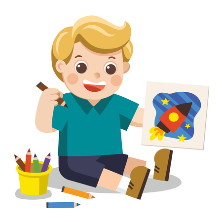 Back to school, Happy Boy draw pictures pencils and paints on floor.Isolated vector.