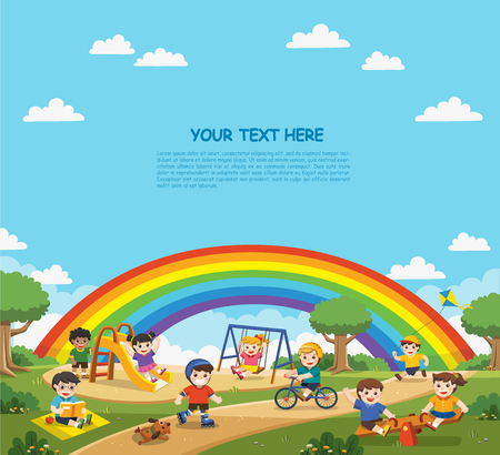 Happy excited kids having fun together on playground. . Children play outside with rainbow background. Template for advertising brochure.
