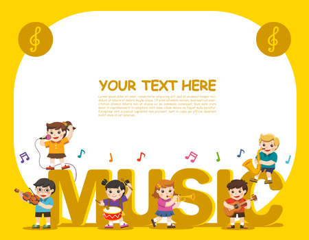 Music concept of children group. Kids playing musical instruments .Template for advertising brochure. Children look up with interest.