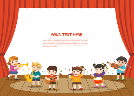 Music concept of children group. Kids playing musical instruments on stage.Template for advertising brochure. Children look up with interest. 向量圖像
