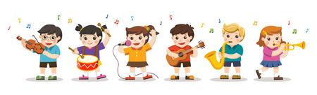 Establecer ilustración de niños tocando instrumentos musicales. Pasatiempos e intereses.