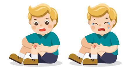 Een jongen die een pijnlijke gewonde beenknie vasthoudt met bloeddruppels. Kind gebroken knie. Bloedende knieblessure pijn. Kind huilen met geschraapte knie. vectorillustratie.