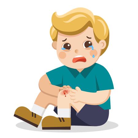 Ein Junge, der schmerzhaften verletzten Beinkniekratzer mit Bluttropfen hält. Kind gebrochenes Knie. Blutende Schmerzen bei Knieverletzungen. Kind weint mit aufgeschürftem Knie. Vektor-Illustration.