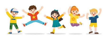 Zajęcia dla dzieci. Szczęśliwe dzieci razem skakać na tle. Chłopcy i dziewczęta bawią się razem radośnie. Ilustracja wektorowa. Ilustracje wektorowe