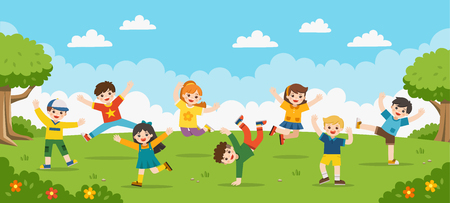 Childrens activities. Happy children are jumping on the park.Template for advertising brochure.