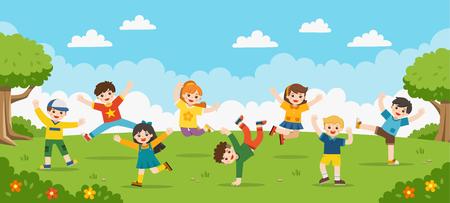 Zajęcia dla dzieci. Szczęśliwe dzieci skaczą po parku. Szablon broszury reklamowej.