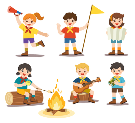 Girls and boys in camping costume. Kids playing guitar around the campfire and Roasting marshmallows on campfire..