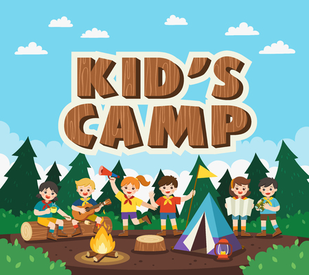 Children camping out in the park. Camping kids concept. Summer camp education advertising. vector illustration.