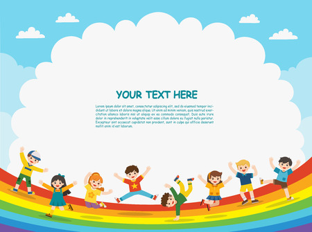 Childrens activities. Happy children are jumping on rainbow background.Template for advertising brochure.
