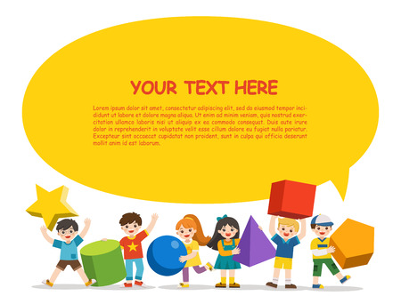 Back to School. Children with simple geometry forms. Different Geometric Shape.  Educational geometry children. Back to School. Template for advertising brochure. Children look up with interest.