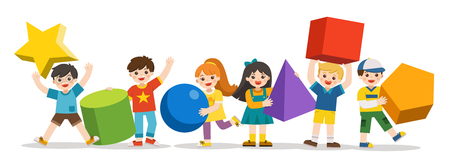 Children with simple geometry forms. Different Geometric Shape. Educational geometry children. Back to School.